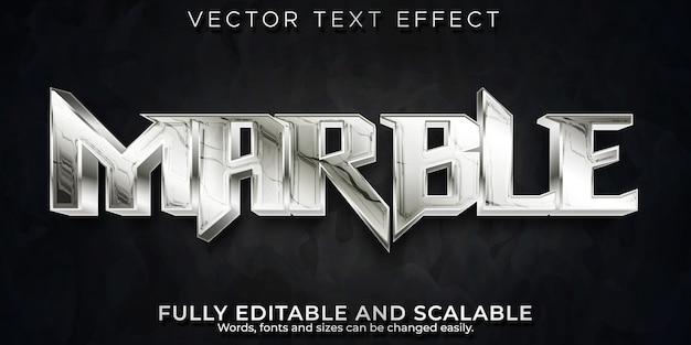 Efeito de texto em mármore metálico, estilo de texto editável em prata e aço