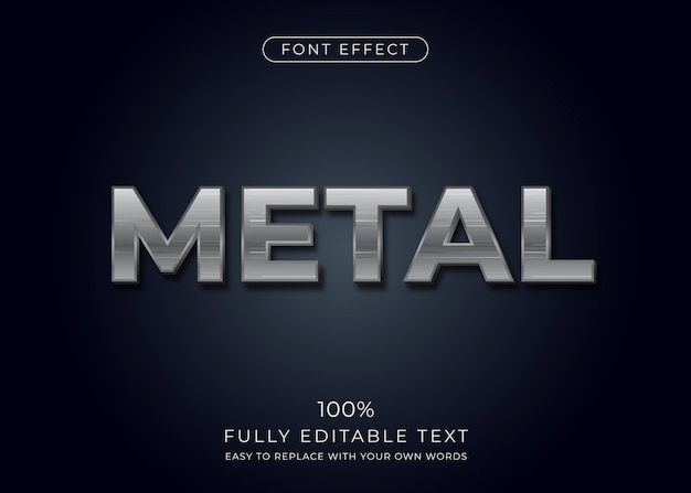 Efeito de texto em metal. estilo de fonte