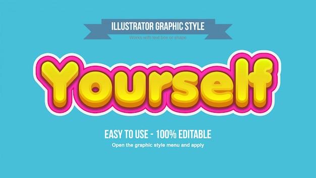 Efeito de texto em negrito 3d amarelo dos desenhos animados com preenchimento de traço rosa