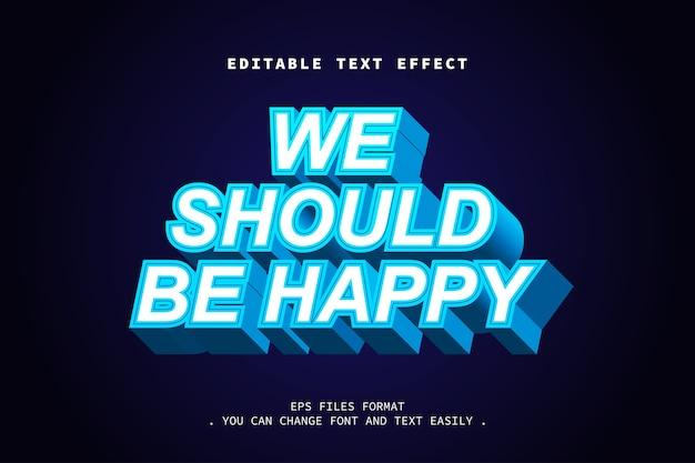Efeito de texto em negrito forte azul 3d, texto editável