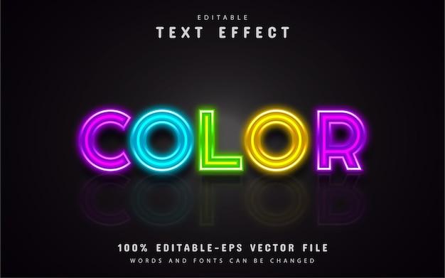 Efeito de texto em néon colorido