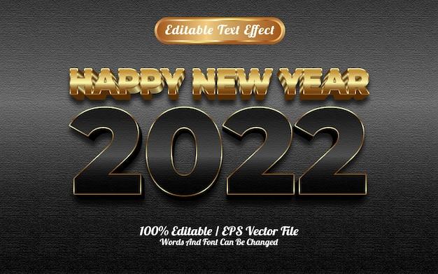 Efeito de texto em ouro preto de luxo de feliz ano novo de 2022