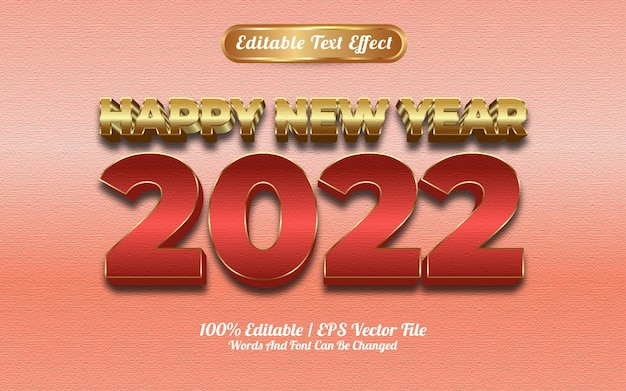 Efeito de texto em ouro vermelho de luxo de feliz ano novo 2022