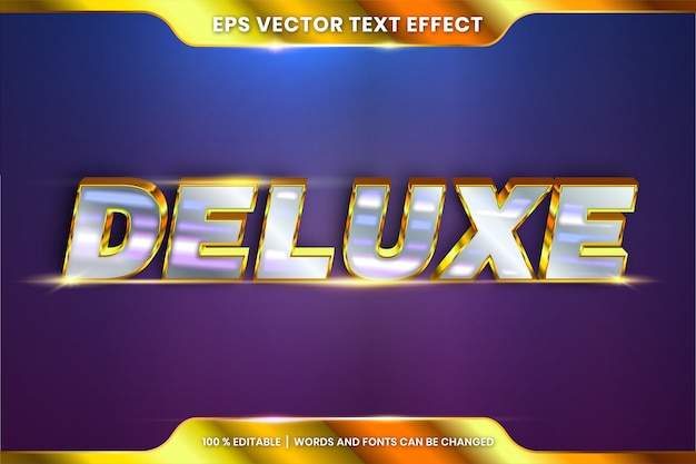 Efeito de texto em palavras 3d deluxe, tema de efeito de texto tema editável metal ouro prata cor conceito