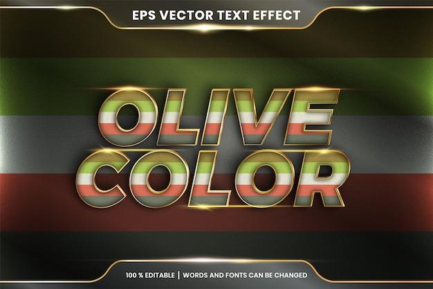 Efeito de texto em palavras cor de oliva, tema de efeito de texto pastel colorido editável com conceito de cor metal ouro