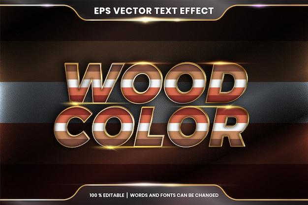 Efeito de texto em palavras de cor de madeira, tema de efeito de texto pastel colorido editável com conceito de cor metal ouro