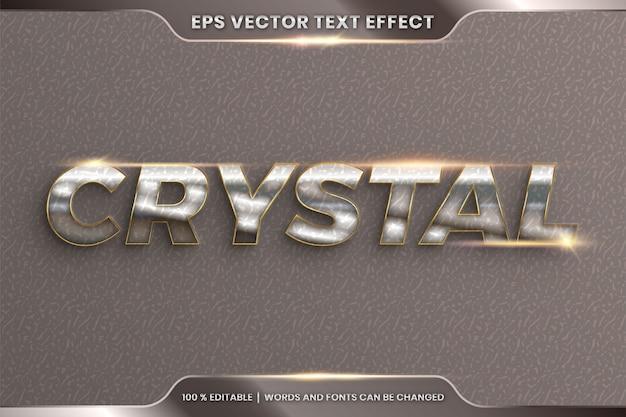 Efeito de texto em palavras de cristal 3d, estilo de fonte tema editável realista metal cromo e combinação de cor dourada com conceito de luz flare