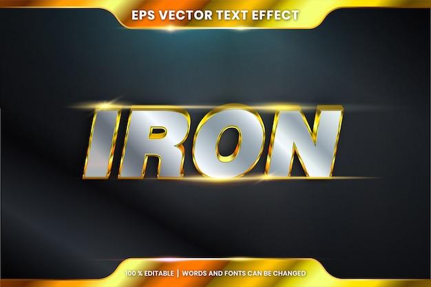 Efeito de texto em palavras de ferro 3d, conceito de estilos de fonte tema editável metal ouro prata cor