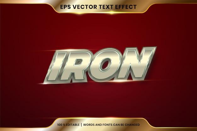 Efeito de texto em palavras de ferro, tema de estilos de fonte metal prata editável e conceito de cor ouro