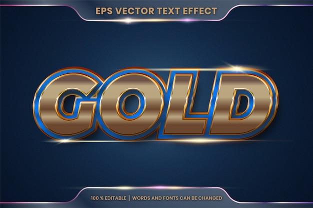 Efeito de texto em palavras de ouro 3d, estilos de fonte tema editável metal ouro e conceito de cor azul