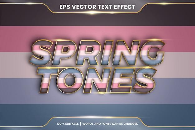 Efeito de texto em palavras de tons de primavera, tema de efeito de texto pastel colorido editável com conceito de cor metal ouro