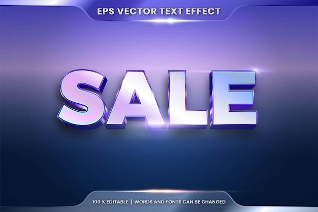 Efeito de texto em palavras de venda 3d, estilo de fonte tema editável gradiente de metal realista prata e combinação de cor azul azul celeste com conceito de luz flare
