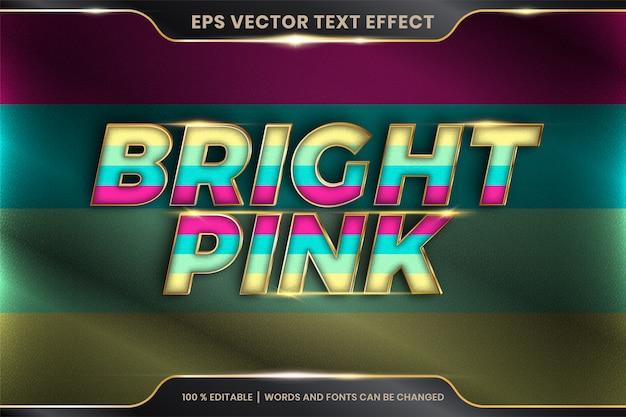 Efeito de texto em palavras em rosa brilhante, tema de efeito de texto pastel colorido editável com conceito de cor metal ouro