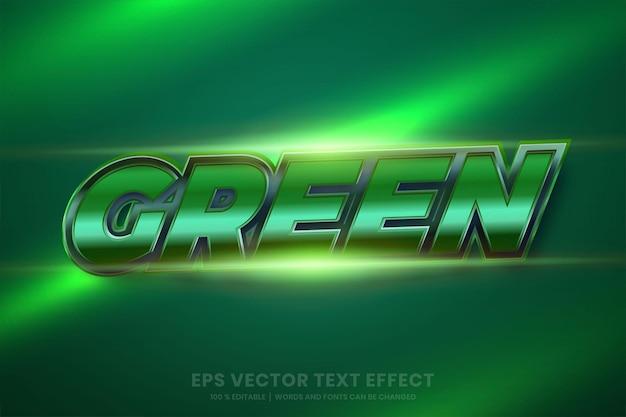 Efeito de texto em palavras metálicas verdes 3d, estilos de fonte gradiente de metal editável