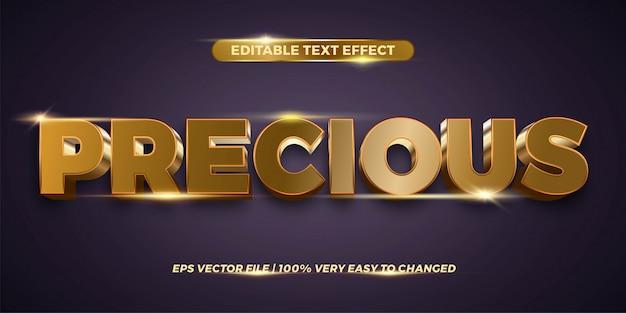 Efeito de texto em palavras preciosas tema de efeito de texto tema editável metal ouro cor conceito