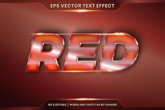Efeito de texto em palavras vermelhas 3d, estilo de fonte tema editável gradiente de metal realista e combinação de cores de bronze com conceito de luz flare