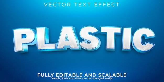 Efeito de texto em plástico de desenho animado, estilo de texto limpo e branco editável