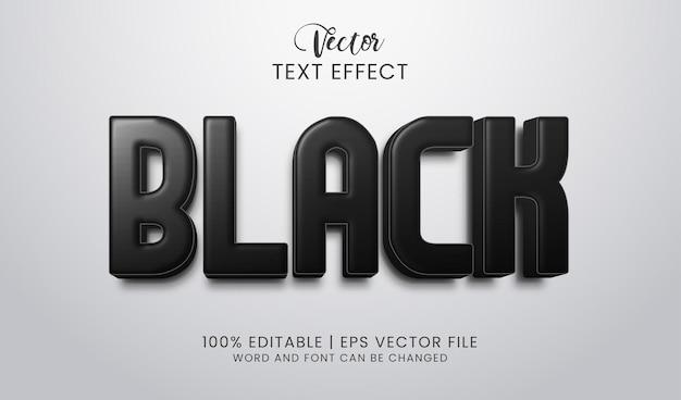 Efeito de texto em preto editável elegante e destacado