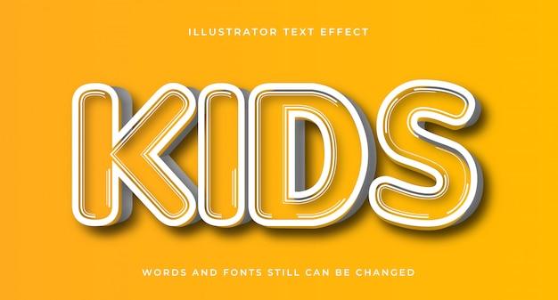 Efeito de texto em quadrinhos editável para crianças
