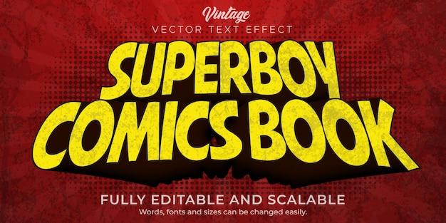 Efeito de texto em quadrinhos, estilo de texto vintage e retro editável