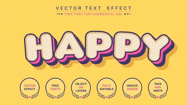Efeito de texto em quadrinhos feliz, estilo de fonte