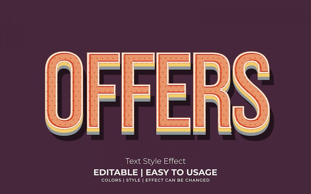 Efeito de texto em relevo 3d com estilo vintage