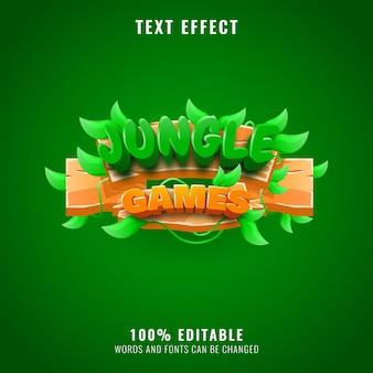 Efeito de texto engraçado de jogos de selva de madeira perfeito para o logotipo e o título do seu jogo