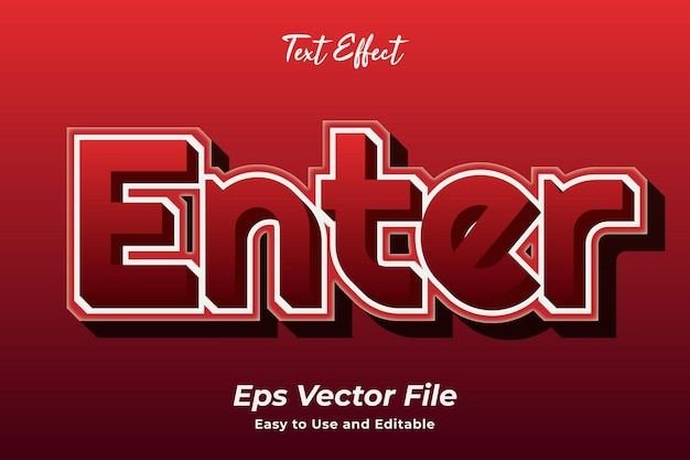 Efeito de texto entrar em vetor premium editável e fácil de usar