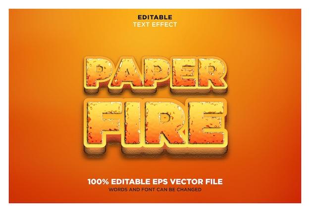 Efeito de texto eps vetorial editável de fogo de papel