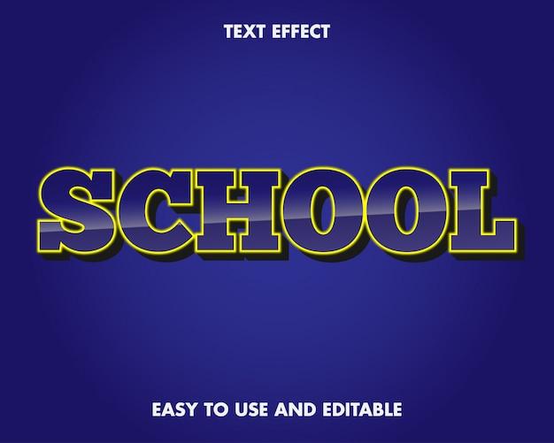 Efeito de texto escolar. fácil de usar e editável. ilustração vetorial. vetor premium