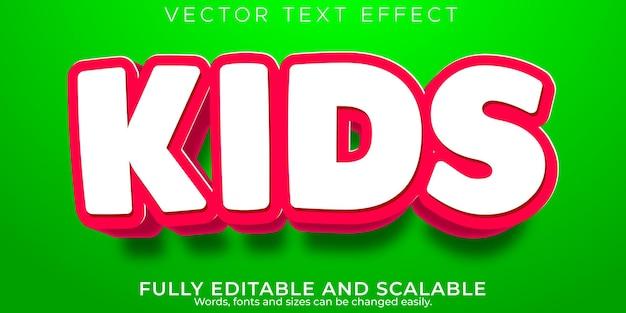 Efeito de texto escolar infantil, desenho editável e estilo de texto engraçado
