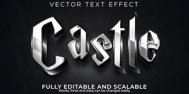 Efeito de texto escuro de castelo, metálico editável e estilo de texto de cavaleiro