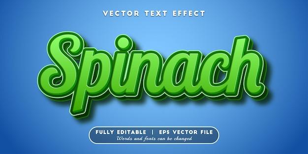 Efeito de texto espinafre, estilo de texto 3d
