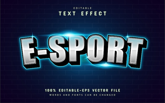 Efeito de texto esport moderno com luz azul