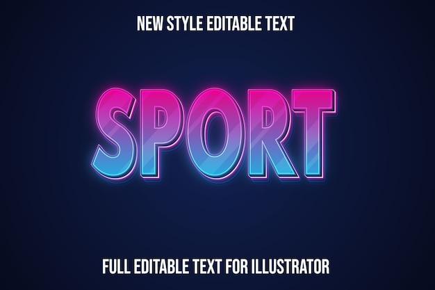 Efeito de texto esporte cor gradiente roxo e rosa