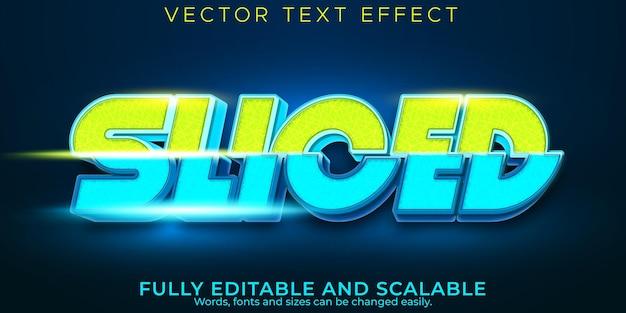 Efeito de texto esportivo em fatias, jogo editável e estilo de texto esport