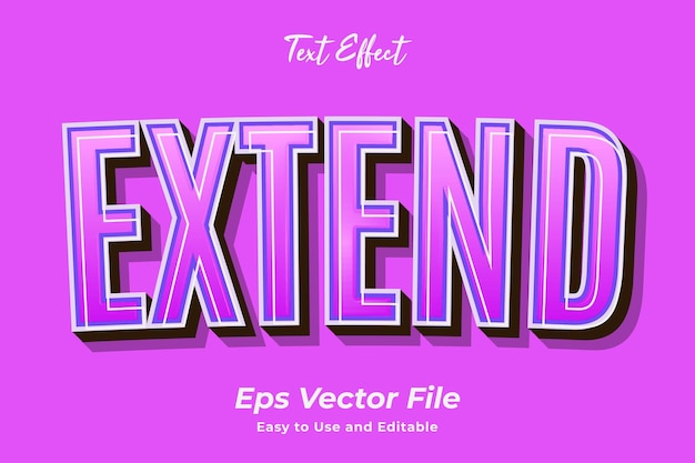Efeito de texto estendido vetor premium editável e fácil de usar