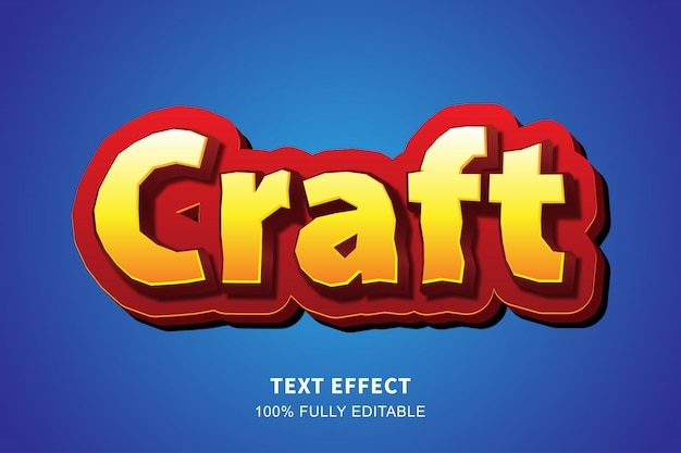 Efeito de texto estilo 3d jogo dos desenhos animados vermelho, texto editável