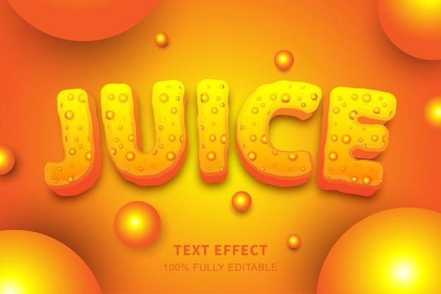 Efeito de texto estilo bolhas de fluido de suco, texto editável