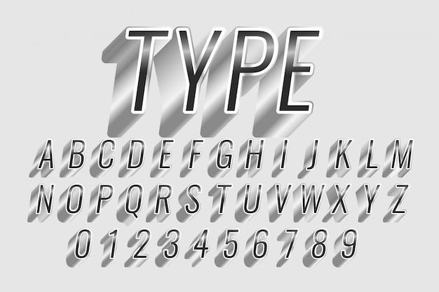 Efeito de texto estilo cromo ou prata