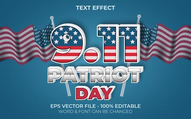 Efeito de texto estilo do dia do patriota 911 efeito de texto editável
