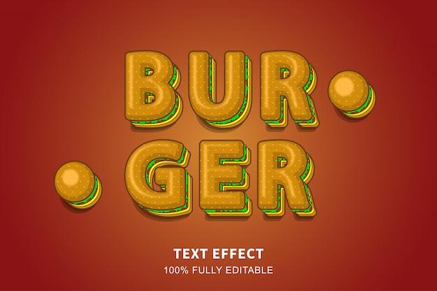 Efeito de texto estilo hambúrguer 3d, texto editável