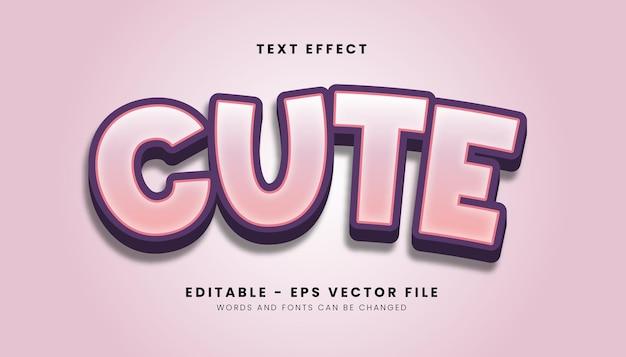 Efeito de texto estilo pink cute