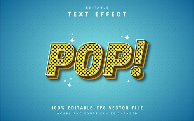 Efeito de texto estilo pop amarelo