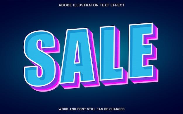 Efeito de texto estilo venda com cores azul e roxa