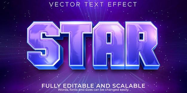 Efeito de texto estrela, espaço editável e estilo de texto galáxia
