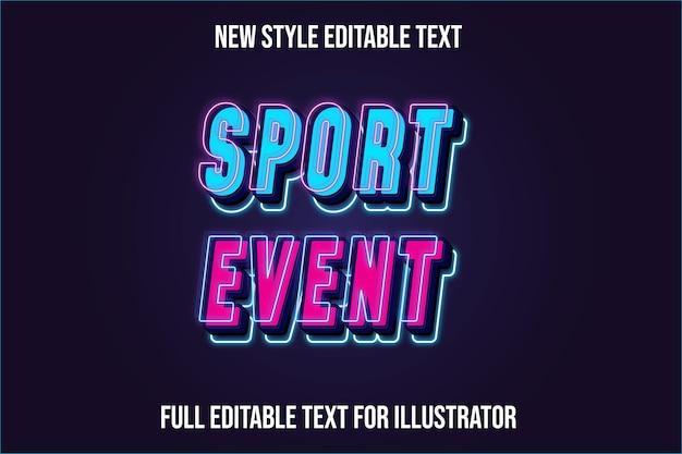 Efeito de texto evento esportivo 3d cor gradiente azul e rosa