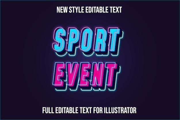 Efeito de texto evento esportivo cor gradiente de azul e rosa