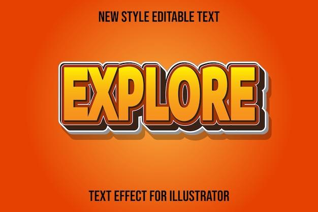 Efeito de texto explora gradiente de cor amarela e marrom