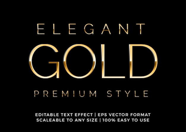 Efeito de texto extravagante de ouro premium elegante